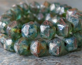 Deep Sea Aqua Green 8mm English Cut Nugget Picasso Czech Glass Beads: 20 pc Blue Green Nugget Beads