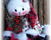 Primitive Folk Art Olde Christmas Snowman Doll and Ornament