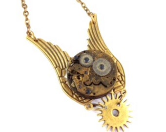 CLOSING DOWN SALE Steampunk Neo Victorian Heart Vintage Watch Movement Bronze Pendant Necklace