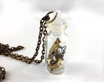 CLOSING DOWN SALE Steampunk Neo Victorian vintage watch movement bottle vial Necklace