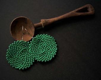 New!! Round Boho Look Afrocentric Kelly Green Earrings, 4cm diameter, Pantone Greenery