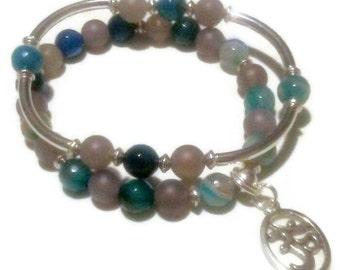 FREE Gift with purchase Blue Teal striped Agate Grey matte Agate Namaste charm bracelet set
