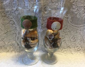 Hurricane Glasses Treasure Ship Restaurant Panama City Beach Full of FL Seashells Beach Shells