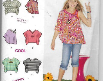Simplicity 1674 Tops, Child Size 8-16, Sewing Pattern, Tunic, Top, One Shoulder, Ruffles, Lace, Suede Says, New uncut
