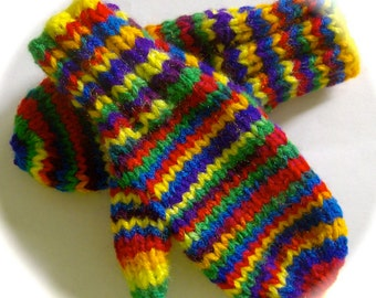 Mittens, Children, Hand Knit, Primary Colors, 1 to 2 years