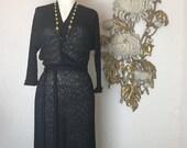 Fall sale 1940s dress black dress knit dress size medium  sweater dress orlon dress 40s dress vintage dress