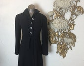 RESERVED 1940s coat navy blue coat wool coat fitted coat size small vintage coat film noir 32 bust old Hollywood