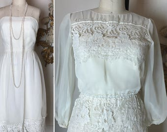 1970s dress set ivory dress peplum dress sheer dress size small vintage dress chiffon dress blouse and dress set