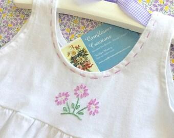 Pretty Purple Posie - Hand Embroidered Girls Cotton Romper