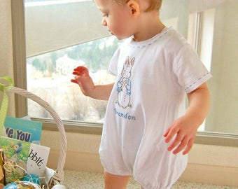 Peter Rabbit  - Beatrix Potter Romper- Hand Embroidered Ready to Ship