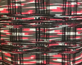 VINTAGE 40s fabric 37 inch wide abstract volup tiki maker fabric beautiful pink grey abstract fabric
