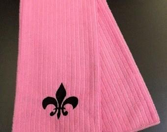 Embroidered Fleur de Lis Tea Towel - Pink and Black