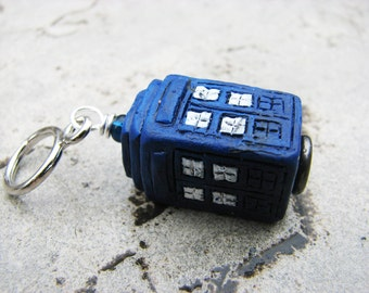 Doctor Who TARDIS Non-Snag Stitch Marker or Keychain/Keyring