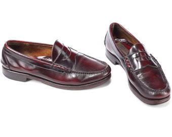 LEATHER LOAFERS Shoes 80s Johnston & Murphy Mens Burgundy Brown Vintage Slip On Luxury Penny Loafers sz Us men 9, Eur 43 , Uk 8.5
