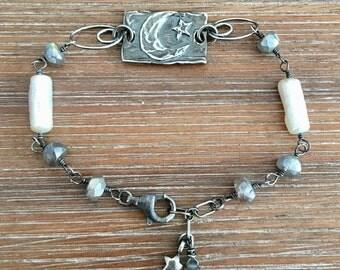 Sterling Silver, Labradorite, and Freshwater Pearl Bracelet
