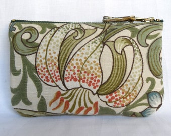 Make Up Bag, Zip Purse, Pouch. William Morris Print 'Golden Lily' in Cream and Sage. Ipod and Earphones Case.