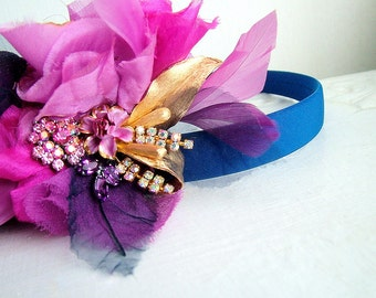 Purple and blue flowers - OOAK Hairband- Ready to ship xx