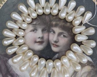 Vintage 16mm Glass Pearl Bead Supply Teardrop 46ct