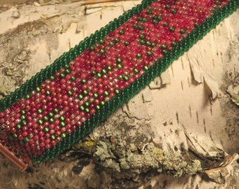 Beaded Green and Red Bracelet