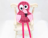 Ornament - Flamingo – whimsical OOAK ornament, felted wool fabric, softly stuffed, plaid pink bird, Snooter-doot signature eyes, cute charms