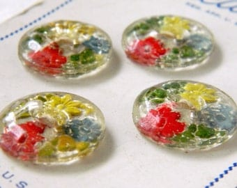 Original Card of Four Vintage Reverse Painted Glass Buttons-Made in the USA