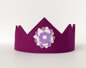 Wool Felt Crown -- Harmony Child crown in 100% merino wool--plum with mandala