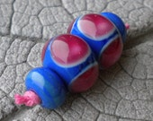 Pink Moon Pairs Lampwork Beads by Cherie Sra R114 Earring pair Flameworked Glass Beads Lampwork Pink Blue Dot Earring Pair Lampwork Spacers