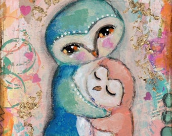 OWL painting, Mother's love,  Mixed media, whimsical art,  Children's art, home decor, Original Painting, owls, nursery art,