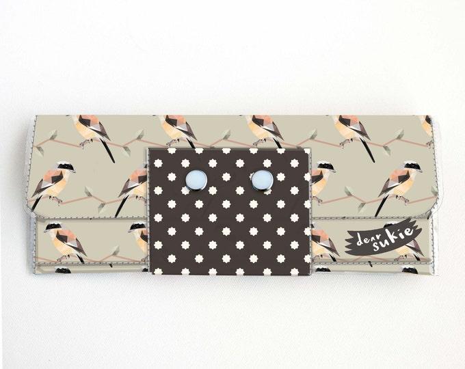 Handmade Vinyl Long Wallet - Geometric Birds / vegan large wallet, clutch, zipper, card case, vinyl wallet, snap wallet, bird, floral, dot