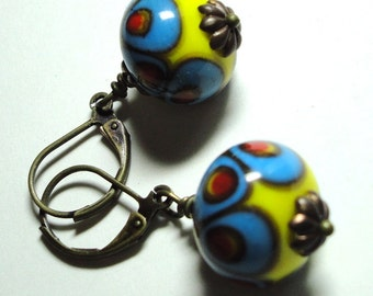 Unique Handmade Lampwork Beads Earrings in Blue Yellow and Red