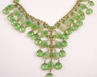 Green Rhinestone Bib Statement Necklace
