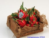 Reserved* 12th scale handmade miniature Crate of Dragon Fruit *Reserved for Minteriors