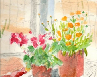 Blossoms at the Garden Gate watercolor