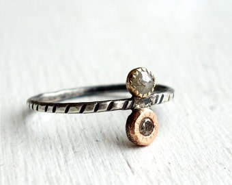 Mixed Metal Double Diamond Ring - One of a Kind Diamond RIng