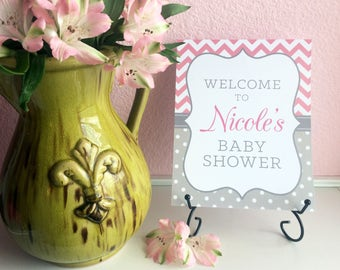 Custom Personalized 8x10 Professionally Printed Baby Shower Welcome Sign - Any 2 Colors - FEATURE'S MOM-to-be's NAME - Boy, Girl, Unisex