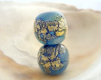 Golden Blue Bead Pair Handmade Lampwork