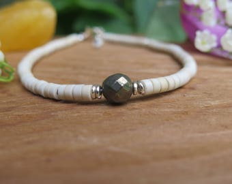 Neutral Anklet - Beaded Jewelry - Wood and Pyrite - Adjustable Silver Beige - Ankle Jewels - Free Spirit Good Vibes - Gem Crystal Boho