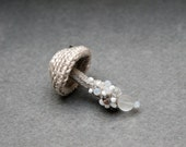 Beaded mushroom crochet brooch - whimsical jewelry