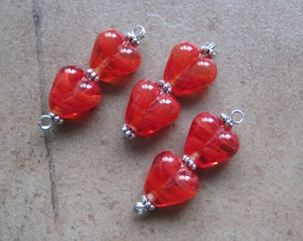Red Heart Beads - Lampwork Beads - SueBeads - Heart Beads - Red Heart Bead Pair - Handmade Lampwork Beads - SRA M67