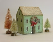 Handmade Wooden Green House with Wreath Set- Christmas Village- Threes Trees- Natural Mica Snow
