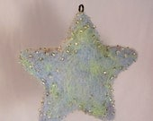 Little Blue Star- Wool Handmade Beaded Ornament- Original Winter Home Decor Accent