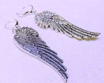 Long Silvery Bird Wings Dangle Earrings Large Size Two Inches Long with Leverback Earwires