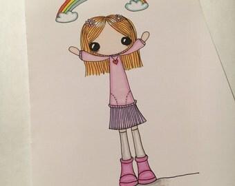 Rainbow Walk Original A5 Doodle
