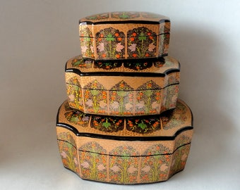 RESERVED for Patricia Baroque Gold Leaf & Berry India Lacquered Paper Mache 3pc Nesting Box Set Vintage Kashmir Trinket India Handpainted