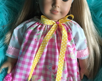 American Girl Doll Dress.. Pink Floral Gingham.. Handmade and Ooak!!