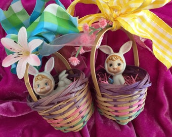 Vintage Bunny Pixie in a Cute Vintage Wicker Basket... Sweet for your Blythe Dolls/dollhouse...ooak!!