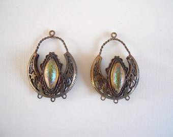 Vintage Brass Filigree West German Glass Earring Findings