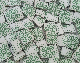 Mosaic Tiles--Green Retro flowers --56 Tiles