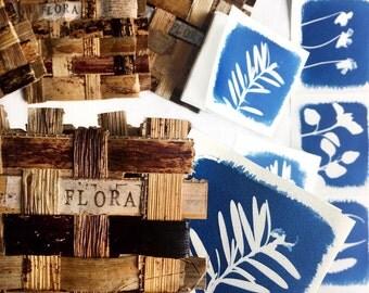 Mini Cyanotype Art Zine in Hand-Woven Banana Bark Cover - Botanical Artist Book, Eco Friendly Fibre Art - Flora Zine