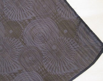 Vintage Gray and Black Long Scarf - Sheer Gray and Black Scarf